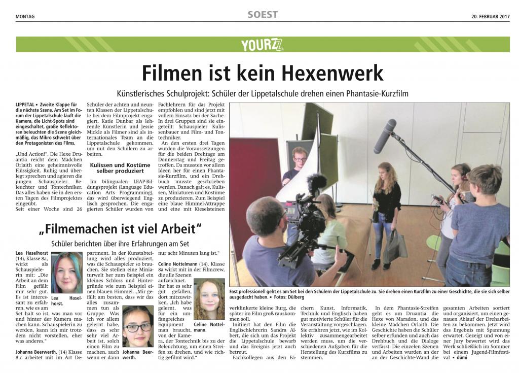 LEAP Filmprojekt Presseartikel Bild 1